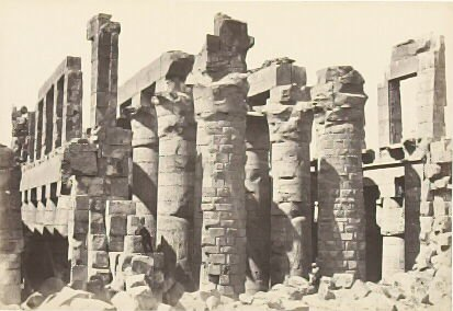 """""""The Hall of Columns, Karnac,"""" in the book Egypt and Palestine, 2 vols., by Francis Frith (London: James S. Virtue, 1858-1859); volume I of II"""