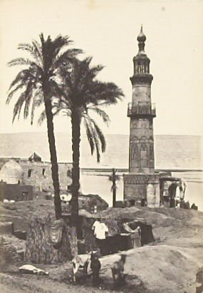 """""""Ruined Mosque and Distant View of Philae,"""" in the book Egypt and Palestine, 2 vols., by Francis Frith (London: James S. Virtue, 1858-1859); volume I of II"""