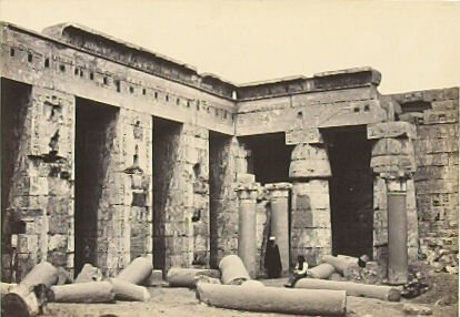 """""""Interior Court of the Temple of Medinet-Haboo, Thebes,"""" in the book Egypt and Palestine, 2 vols., by Francis Frith (London: James S. Virtue, 1858-1859); volume I of II"""