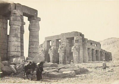 """""""The Memnonium, Thebes,"""" in the book Egypt and Palestine, 2 vols., by Francis Frith (London: James S. Virtue, 1858-1859); volume I of II"""