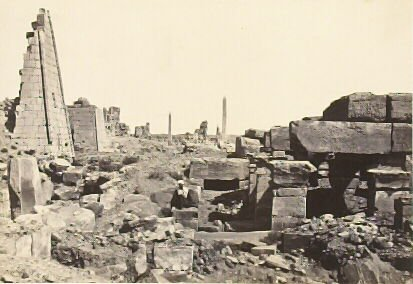"""""""View at Karnac, from the Granite Pylon,"""" in the book Egypt and Palestine, 2 vols., by Francis Frith (London: James S. Virtue, 1858-1859); volume II of II"""