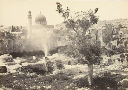 """""""The Mosque of Omar, Jeruslem, from the city walls,"""" in the book Egypt and Palestine, 2 vols., by Francis Frith (London: James S. Virtue, 1858-1859); volume II of II"""
