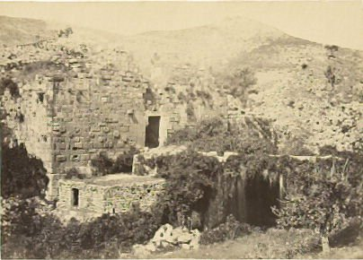 """Banias, the Ancient Caesarea Philippi,"" in the book Egypt and Palestine, 2 vols., by Francis Frith (London: James S. Virtue, 1858-1859); volume II of II"