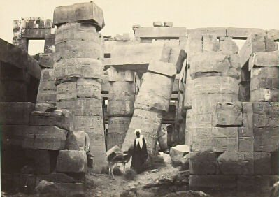 """""""Pillars in the Great Hall, Karnac,"""" in the book Egypt and Palestine, 2 vols., by Francis Frith (London: James S. Virtue, 1858-1859); volume II of II"""