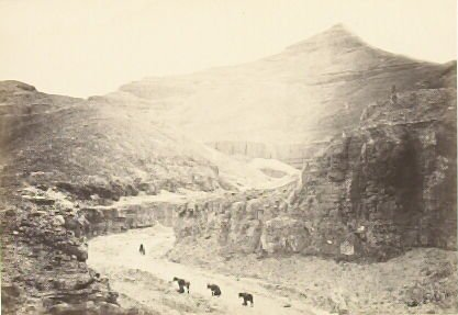 """""""Valley of the Tombs of the Kings, Thebes,"""" in the book Egypt and Palestine, 2 vols., by Francis Frith (London: James S. Virtue, 1858-1859); volume II of II"""