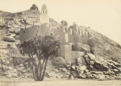 """""""Doum Palm, and Ruined Mosque, near Philae,"""" in the book Egypt and Palestine, 2 vols., by Francis Frith (London: James S. Virtue, 1858-1859); volume II of II"""