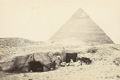 """""""Rock Tombs and Belzoni's Pyramid, Gizeh,"""" in the book Egypt and Palestine, 2 vols., by Francis Frith (London: James S. Virtue, 1858-1859); volume II of II"""