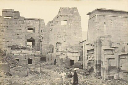 """""""The Temple Palace, Medinet-Haboo,"""" in the book Egypt and Palestine, 2 vols., by Francis Frith (London: James S. Virtue, 1858-1859); volume II of II"""