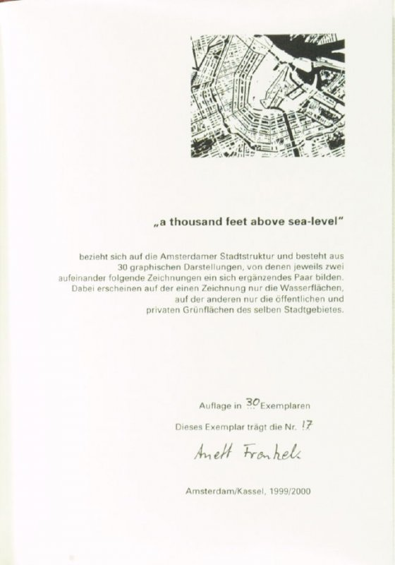 """Colophon page in the book """"a thousand feet above sea-level"""" (Amsterdam/ Kassel: 1999/2000)"""
