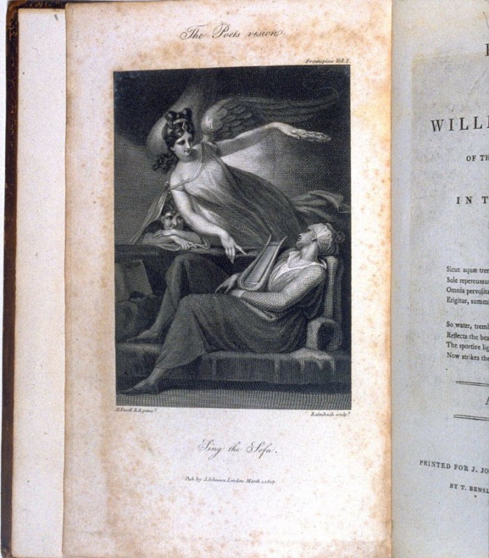 The Poet's Vision, frontispiece in the book, Poems by William Cowper (London: J. Johnson , 1808), vol. 1