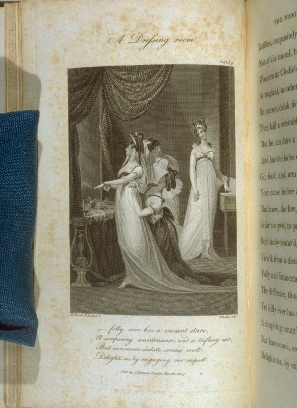 A Dressing room., plate opposite page 51, in the book, Poems by William Cowper (London: J. Johnson , 1808), vol. 1
