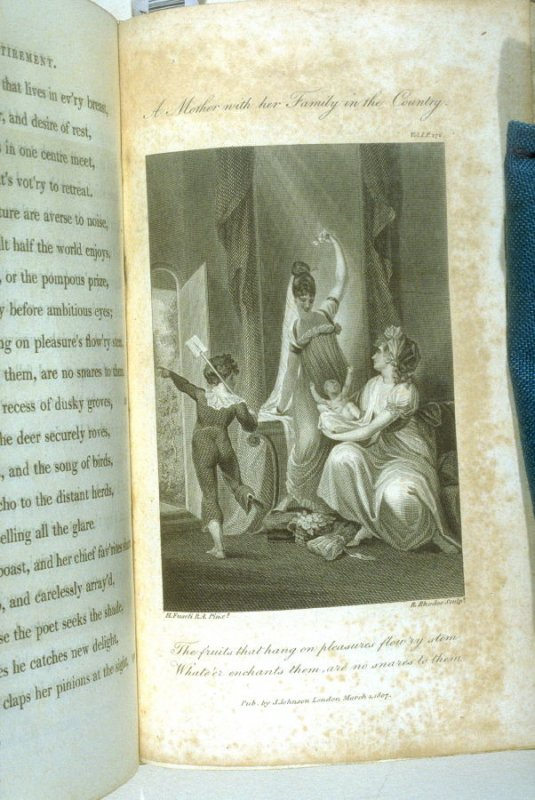 A. Mother and her Family in the Country, plate opposite page 276, in the book, Poems by William Cowper (London: J. Johnson , 1808), vol. 1