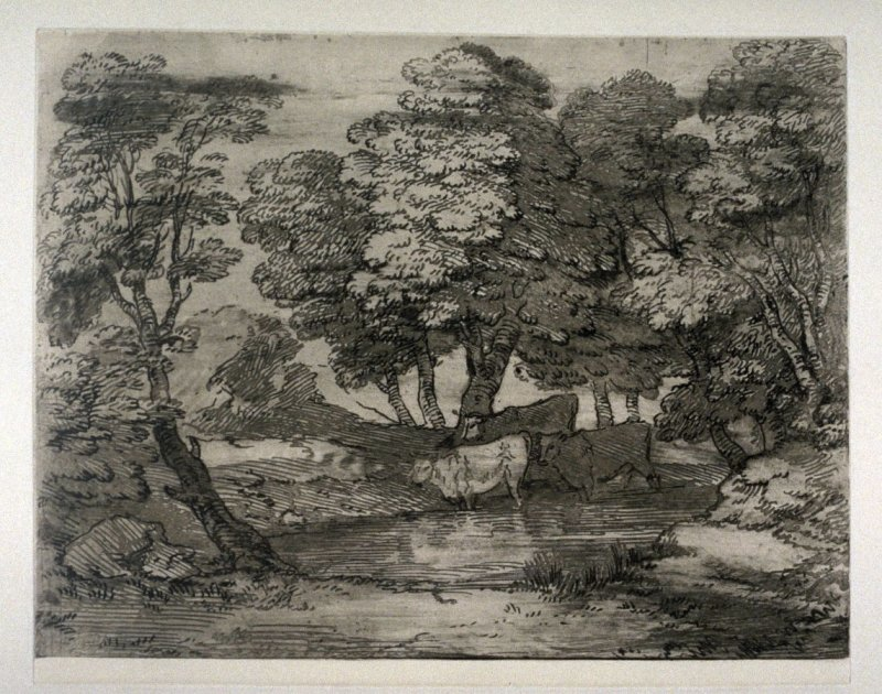 Wooded Landscape with Three Cows at a Pool