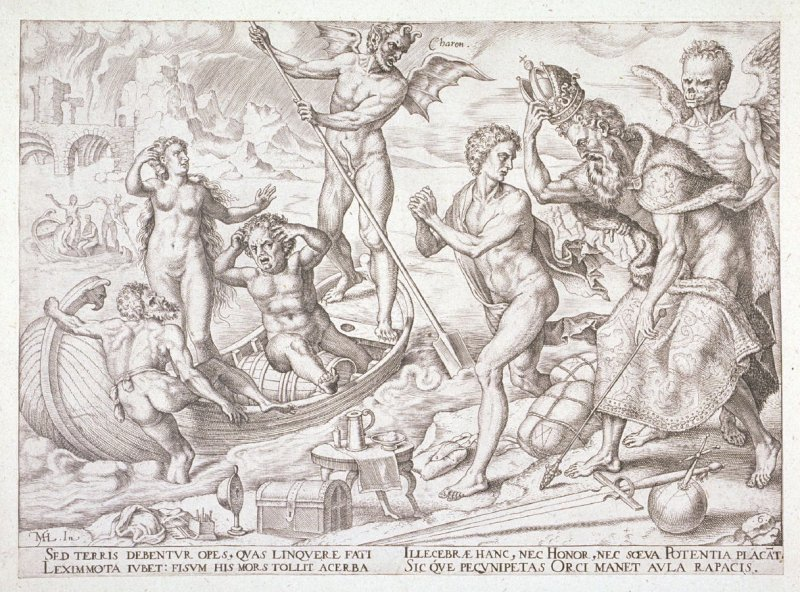 Set of 6 engravings: Allegorical subjects: 6. Charon with boat and occupants etc.