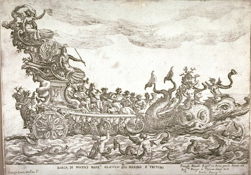 A Musical Boat in the Arno, with Sea Gods and Tritons, for the wedding festivites of the Duke of Tuscany