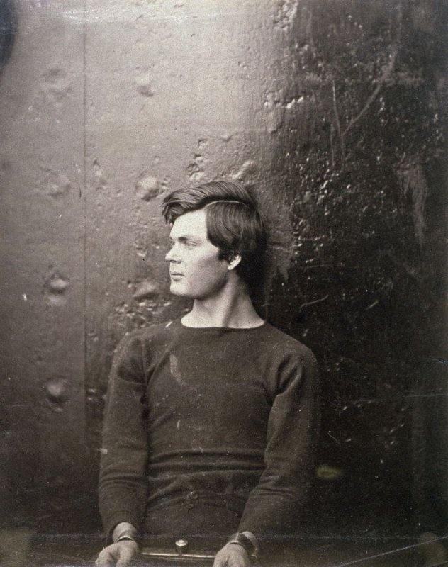 Lewis Powell (Alias Payne), Conspirator, Seated and Manacled, April, 1865, from the book, The Album of the Lincoln Conspiracy (Washington: Alexander Gardner, 1866)