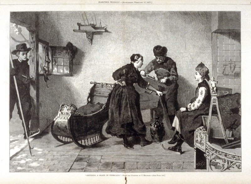 """""""Grinding a skate in Friesland""""- from Harper's Weekly,17 February 17. 1877), pp. 138-139"""