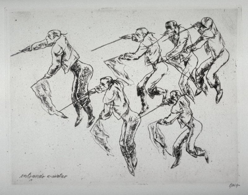 #2 - Series of 10 Etchings (DP) and Title of Bull Fight scenes as follows: Entrando a Matar