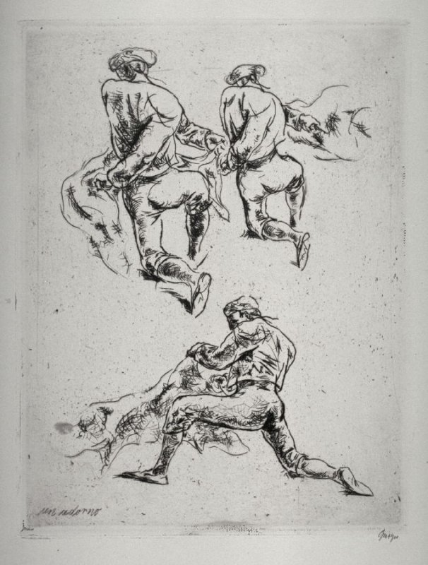 Series of 10 Etchings (DP) and Title of Bull Fight scenes as follows: Un Adorno