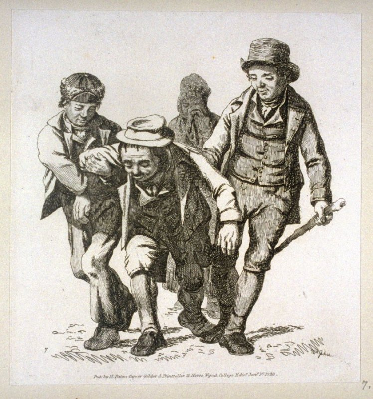 Enebriated man between two companions, who help him home