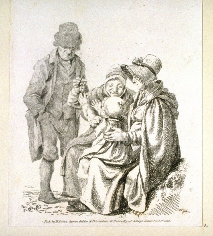 Mother with child on her knees and grandparents