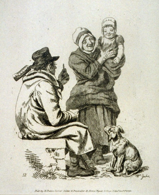 Woman holding child in her arms, man and dog next to her