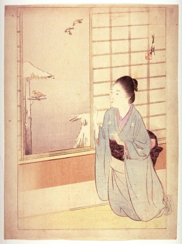 Untitled frontispiece from a novel (Young woman kneeling by window...),