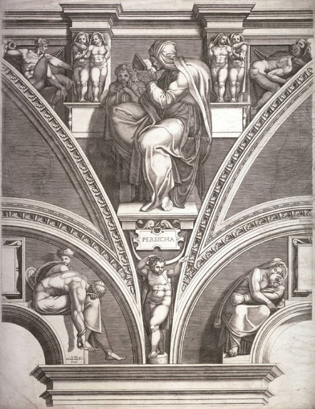 The Persian Sibyl, from a series of six prints after Michelangelo's Sistine Chapel ceiling