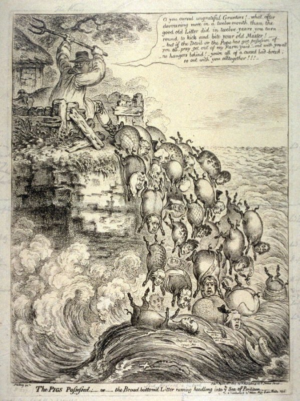 The Pigs Possessed; - or - the Broad bottom'd Litter running headlong into a Sea of Perdition