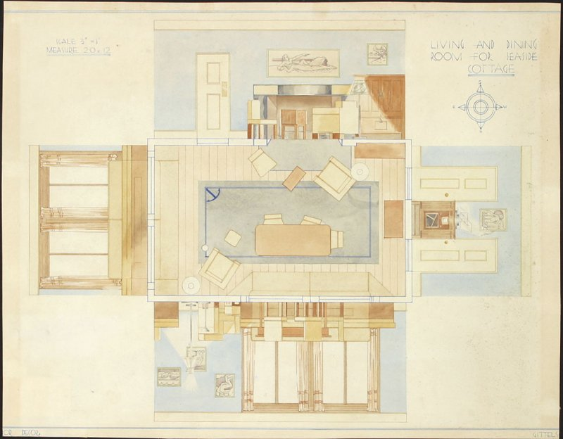 Living and Dining Room for Seaside Cottage, Spring 1935