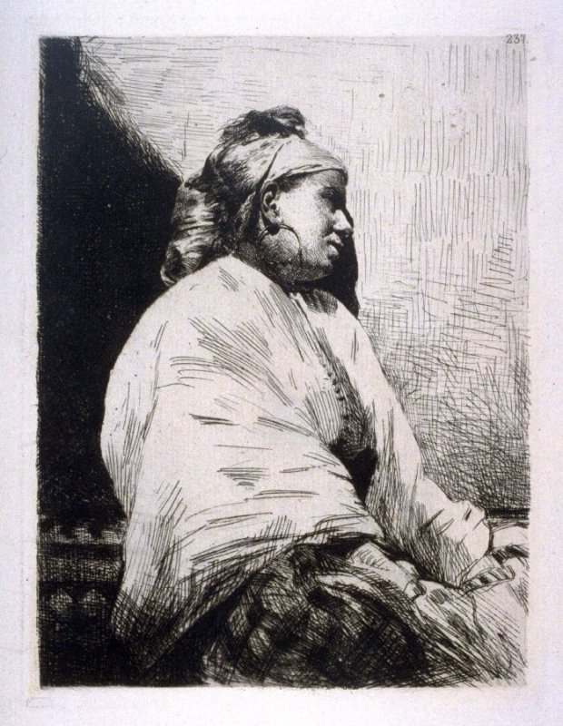 Seated woman, facing right, leaning against wall