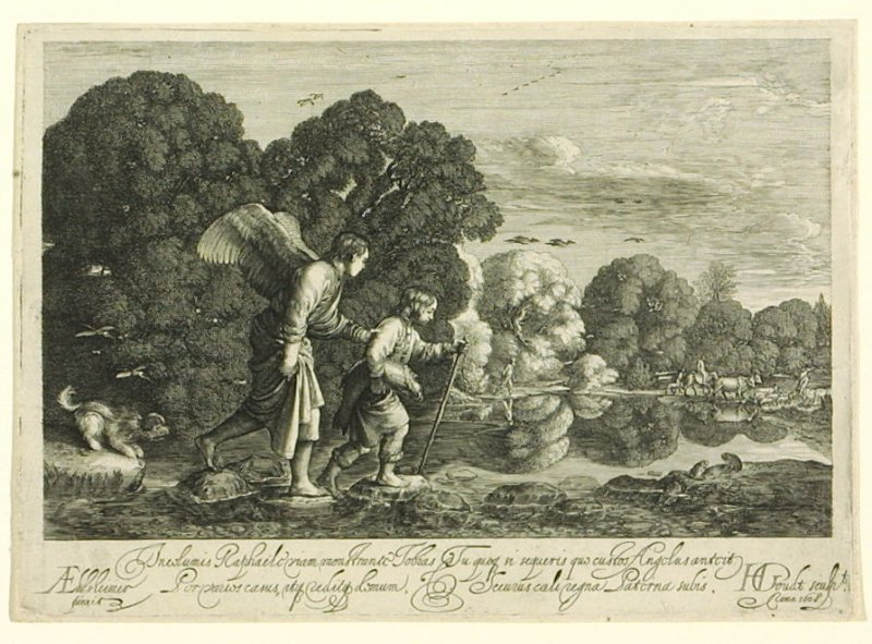 Tobias Carrying the Fish, Walking with the Angel