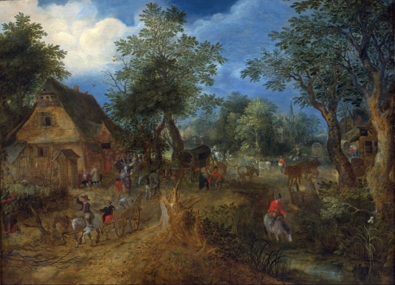 Village Scene in the Woods (Farmhouse Inn in a Flemish Village)
