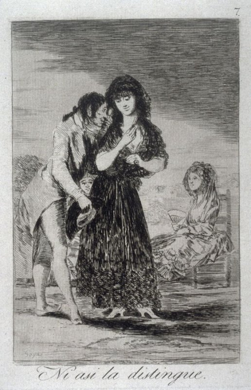 Ni asi la distingue (Even Thus, He Cannot Make Her Out), plate 7 from the series Los Caprichos (Caprices)