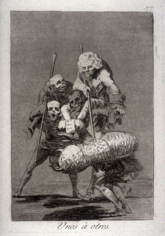 Unos à otros (What One Does To Another), plate 77 from the series Los Caprichos (Caprices)