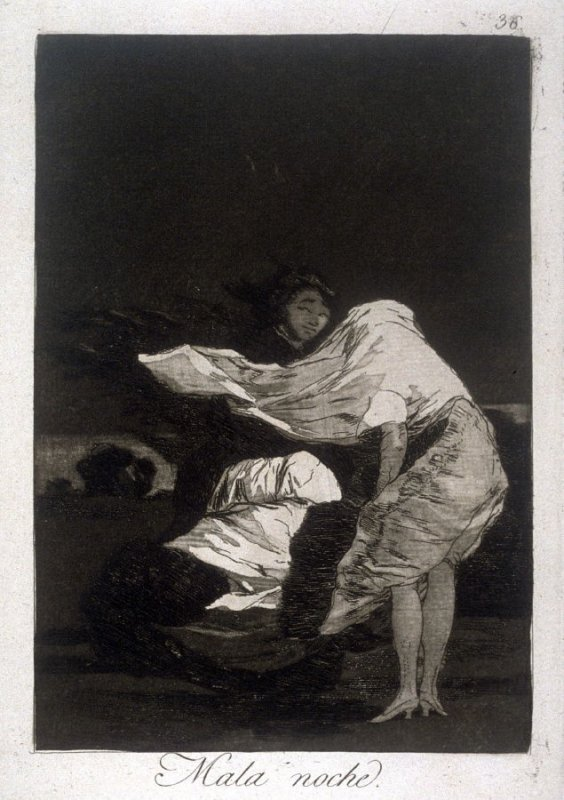 Mala noche (A Bad Night), plate 36 from the series Los Caprichos (Caprices)