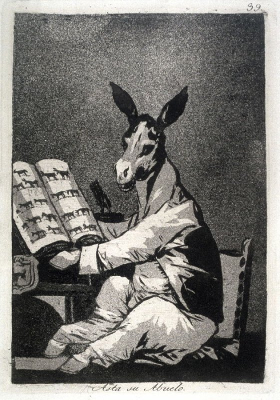 Asta su abuelo (And So Was his Grandfather), plate 39 from the series Los Caprichos (Caprices)