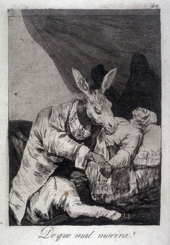 De que mal morira? (Of What Ill Will He Die?), plate 40 from the series Los Caprichos (Caprices)
