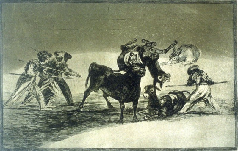 La Tauromaquia: Palenque de los Moros hecho con burros para defenderse del toro embolado (The Moors use two donkeys as a barrier to defend themselves against the bull whose horns have been tipped with balls)