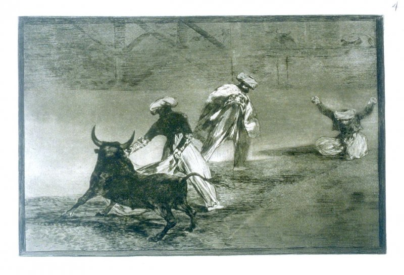 La Tauromaquia: Capean otro enderrado (They play another with the cape in an enclosure)
