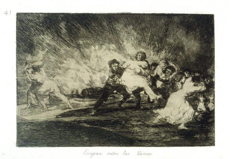 Escapan entre las llamas (They Escape Through The Flames), pl.41 from the series Los desastres de la guerra (The Disasters of War)