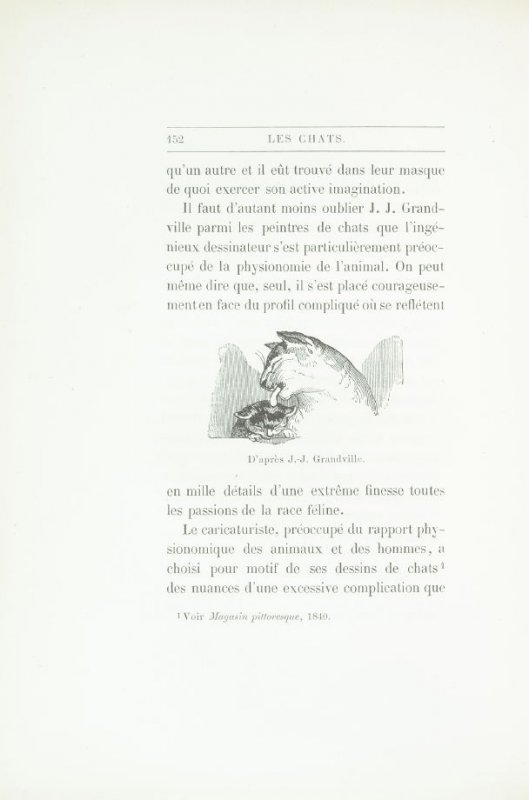 """Croquis de chats, d'après J. J. Grandville,"" pg. 152, in the book Les Chats (Cats) by Champfleury (Paris: J. Rothschild, 1870)."