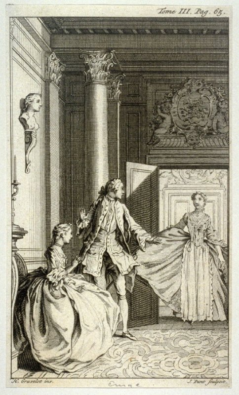 [interior scene with a woman entering a room and stumbling upon a couple]