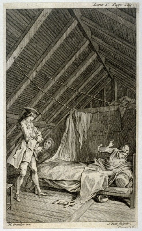 [interior scene with a man entering an attic where he discovers a man just taking leave of a woman lying in a bed