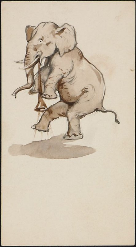 Dancing Elephant with a Horn