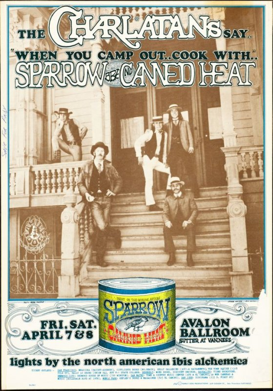 """""""Charlatans Front Porch,"""" Charlatans, Sparrow, Canned Heat, April 7 & 8, Avalon Ballroom"""
