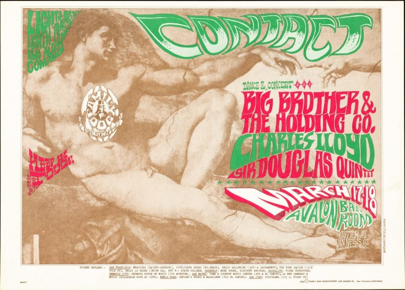 """""""Contact,"""" Big Brother and the Holding Company, Charles Lloyd, Sir Douglas Quintet, March 17 & 18, Avalon Ballroom"""