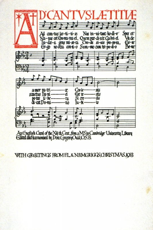 An English Carol of the XIII century, from a MS. in Cambridge University Library (Christmas Card)