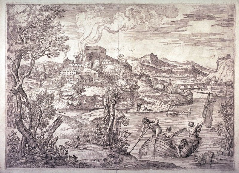 copy in reverse of Landscape with a Lute Player, after Titian