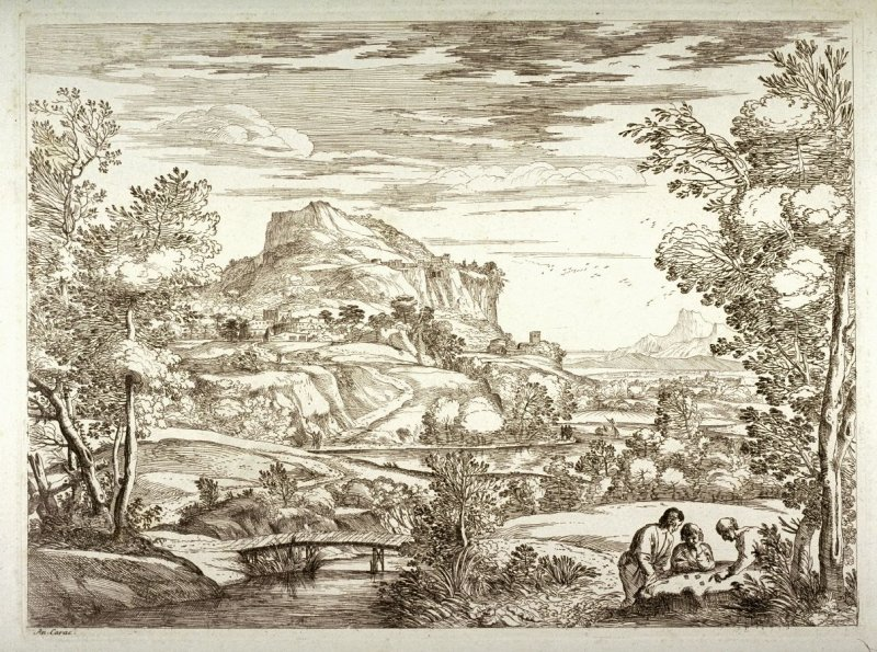 Landscape with Three Men Playing with Dice, after Annibale Carracci